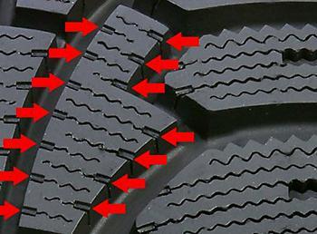 Расположенные по краю шашек протектора возбудители работы ламелей