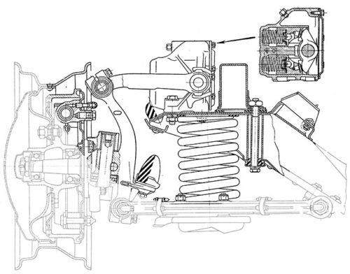 Рычажный гидравлический амортизатор в передней подвеске